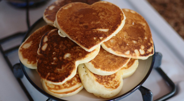 heart-shaped pancakes