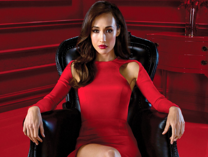simone red dress black chair