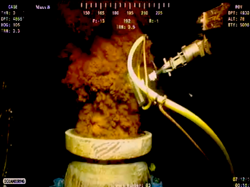 BP well underwater gushing oil